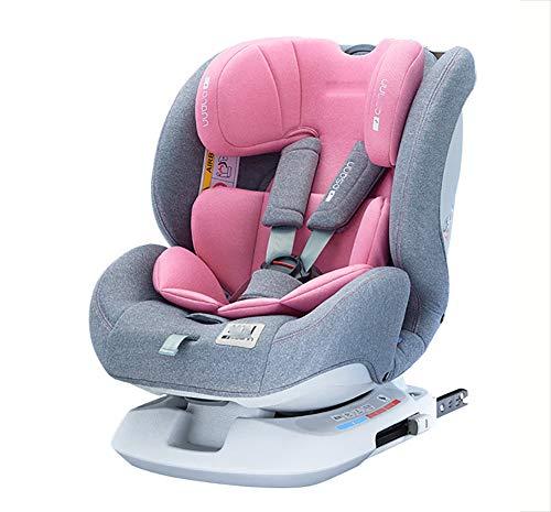 WWLONG Asiento Seguridad para niños para automóvil,cojín Asiento Seguridad para niños,Interfaz Isofix Asiento Seguridad Reforzado para automóvil,reclinable,instalación en ambas direcciones-Pink