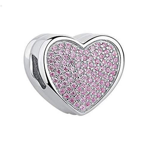 Gaosh Colgantes Personalizados con Forma de corazón Colgantes con Cuentas grabadas para Mujer Plata de Ley 925 para Amante Novia Regalo BFF para Navidad cumpleaños Aniversario (Rosa)