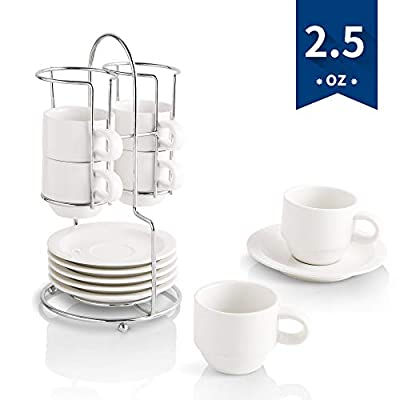 KOOV Porcelain Stackable Espresso Cups with Saucers and Metal Stand, 2.5 Ounce, Set of 6 (White)