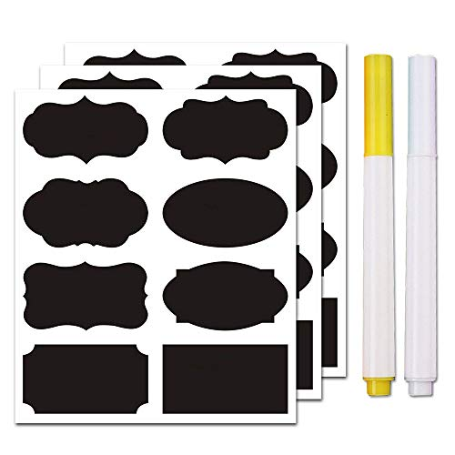 Chalkboard Labels Bulk (80PCS) - Mini Decorative Chalk Labels - Free Erasable Chalk Pen,Black stickes Labels for Food Storage Classification, Adhesive Blackboard Stickes Label