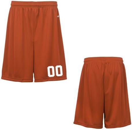 Orange Youth XS (Custom with Uniform #) Athletic Wicking Sports Shorts