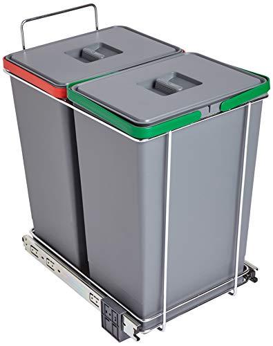ELLETIPI Ecofil PF0144B2Mülleimer Mülltrennung, ausziehbar für Base, Kunststoff und Metall, Grau, 30x 45x 46cm