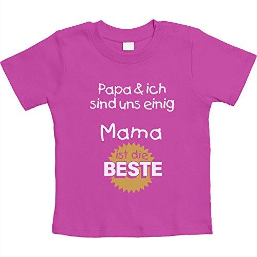 Papa & ich sind Uns einig Mama ist die Beste Unisex Baby Thirt 18-24 Monate Rosa