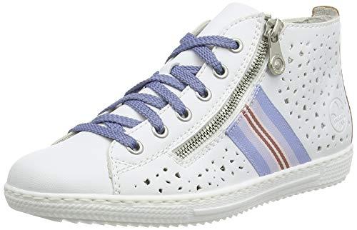 Rieker Damen Frühjahr/Sommer L9417 Slip On Sneaker, Weiß (Weiss/Orchidee/ 80 80), 38 EU
