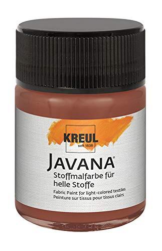 Kreul 91947 - Javana Stoffmalfarbe für helle Stoffe, geschmeidige Farbe auf Wasserbasis mit cremigem Charakter, im 50 ml Glas, rehbraun