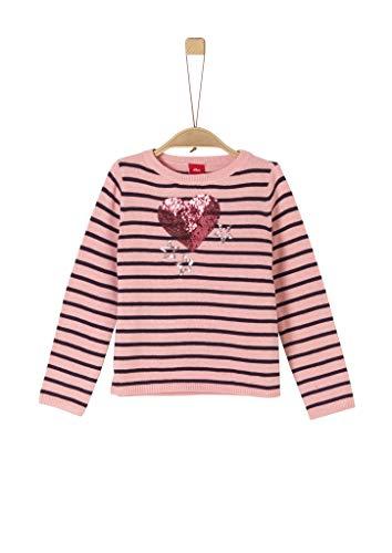 s.Oliver Mädchen 58.911.61.2239 Pullover, Rosa (Rose Knitted Stripes 42G0), 116 (Herstellergröße:116/122/REG)