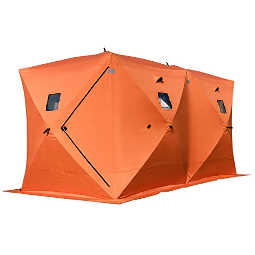 Maxmass Pup up Tent, 8 Person Waterproof Shelter with Detachable Windows, Zippered Door & Carry Bag, UV Low Temperature Resistant Dome for Hiking, Camping, Travelling and Fishing