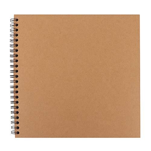 BELLE VOUS Scrapbook Fotoalbum (40 Blatt, 80 Seiten) - Fotobuch Braun 20,5x20,5cm aus Kraftpapier - DIY Spiralalbum Foto Album zum selbst gestalten für Hochzeit, Jubiläum, Geburtstag, Geschenke