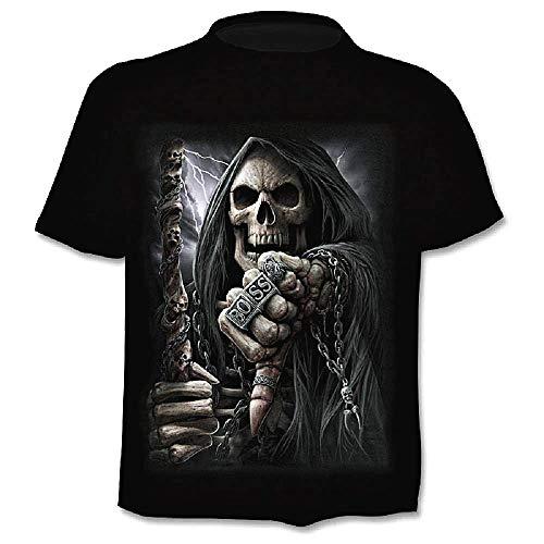 Camiseta Calavera para Hombre - gótica - Hijos de la anarquía - Manga Corta - Calavera para Hombre - Metal - Motociclista - niño - Rock - Punk - Oscuro - Jefe - Halloween - Negro - Talla l