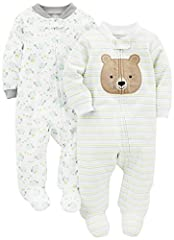 Two long-sleeve footed sleep-and-play suits in baby-soft cotton Ankle-to-chin zipper with snap-over tab Ribbed cuffs and neckline Trusted Carter's quality, everyday low prices, and hassle-free packaging