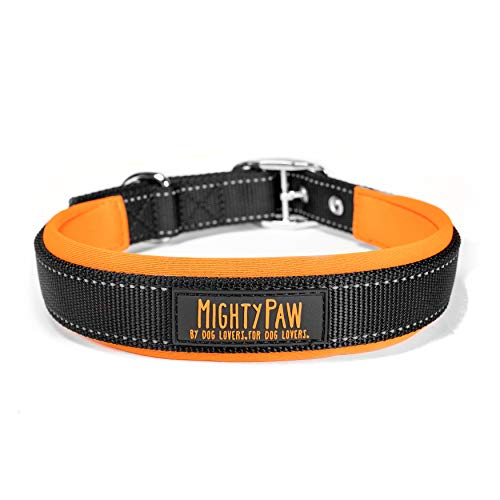 Mighty Paw Sport Collar 2.0 | Soft Neoprene Padded Dog Collar Made with High Visibility Reflective Threading and Premium Weatherproof Nylon. Fits Small and Large Pets (Orange)