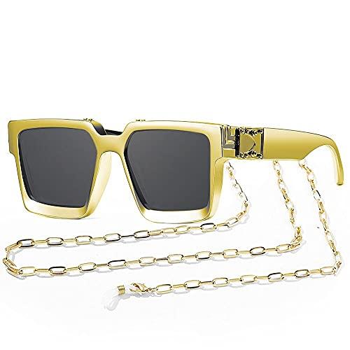 SHEEN KELLY Retro Millionaire Gafas de sol Cuadradas Metal punk Rock Hip hop Gafas hombres mujeres