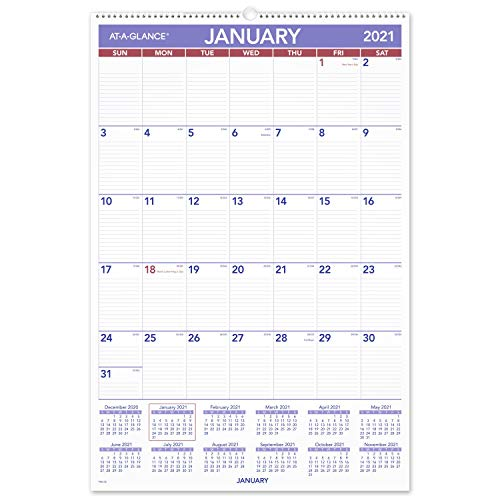 2021 Wall Calendar by AT-A-GLANCE, 20' x 30', Extra Large, Monthly, Wirebound (PM42821)