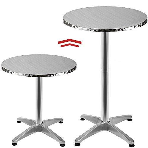Deuba Adjustable Aluminium Bistro Table Round Garden Side Table made of Stainless steel with adjustable height 65-115cm