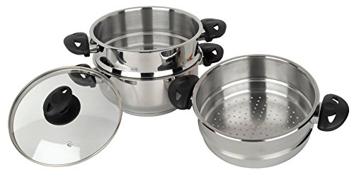 Stainless steel collection Pendeford Vaporiera in Acciaio Inox, 3 Piani, 20 cm