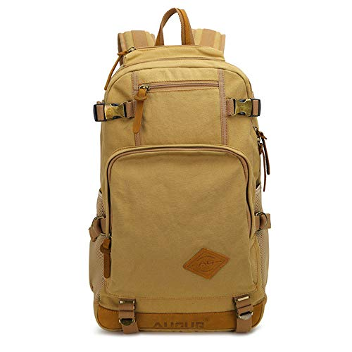 RCTO New fashion Luxury brand men's vintage canvas brown backpack school bag travel large capacity laptop backpacks best khkai 301547