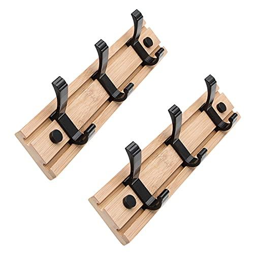 Coat Hooks Rack Adhesive Set Of 2 Wall Mounted Coat Racks Bamboo Key Holder Storage Sticky Hook for Hanging Hat Pack Jacket Towel in Hallway Entryway Bedroom, 3 Hooks 30cm