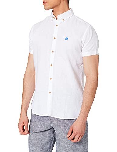 Springfield Camisa Manga Corta Lino ORGÁNICO BÁSICA, Blanco, XL para Hombre