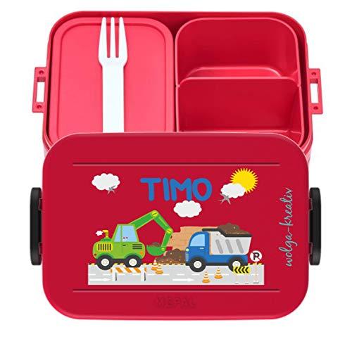 wolga-kreativ Brotdose Lunchbox Bento Box Kinder Laster Bagger mit Namen Mepal Obsteinsatz für Mädchen Jungen personalisiert Brotbüchse Brotdosen Kindergarten Schule Schultüte füllen