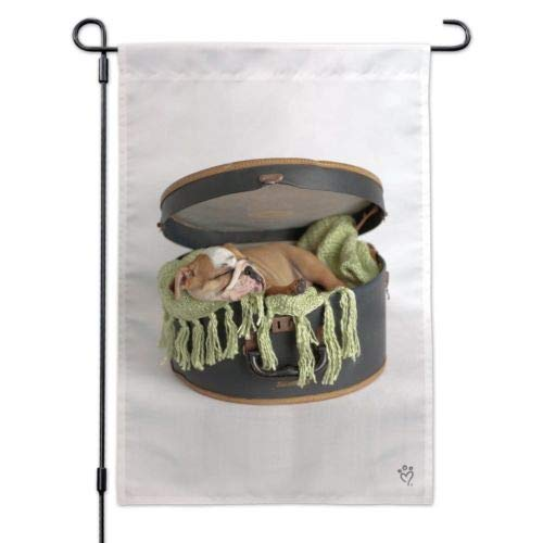 Seizoensgebonden Tuinvlag, 12 x 18 Inch Outdoor vlag, Tuin Banner, Engels Bulldog Puppy Hond Slapende Hoedendoos Doos Tuinwerf Vlag