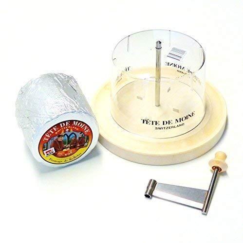 Girolle Original Swiss Made Käsehobel mit Originalhaube 1 ganzer Laib Tete de Moine