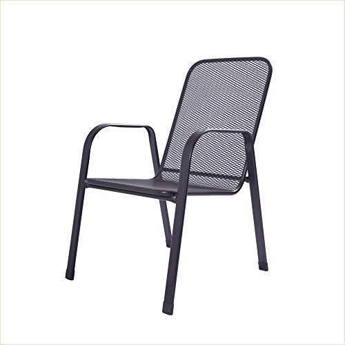 acamp Gartenstühle Astor | 4er-Set Stapelsessel | Anthrazit | Größe: 57x75x92 cm | Stahlrohr-Gestell | Sitz- und Rücken aus stabilem Streckmetall | wetterfeste nanotech-Beschichtung