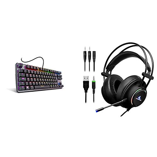 Krom Kernel Tkl Teclado Mecánico Español Gaming RGB, Color Negro + LYCANDER Auriculares de Diadema para Juegos con luz LED para micrófono, Entrada de 3,5 mm, para PC, PS4, Xbox One, Nintendo Switch