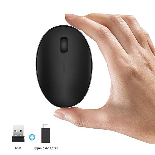 TENMOS Mini Rechargeable Wireless Mouse, 2.4GHz Optical Travel Mouse Silent Wireless Computer Mice with USB Receiver, Auto Sleeping, 3 Buttons, 1000 DPI Compatible with Laptop, PC, Chromebook (Black)