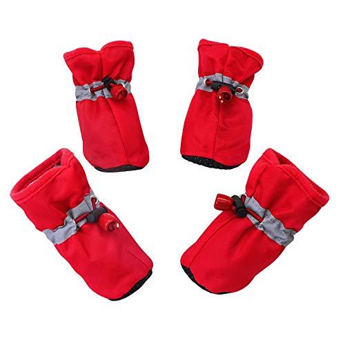 Miugwp Zapatos para Perros, Protector de Patas para Botas para Perros, Zapatos para Mascotas de Suela Suave Antideslizante Ajustable, con Velcro Reflectante, para Perros pequeños (Rojo)