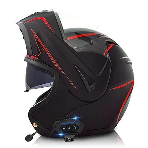 ZHANGYUEFEIFZ Casco Moto Modular Bluetooth Integrado Casco Integral con Doble Visera Casco de Moto para Hombre o Mujer ECE Homologado (Color : G, Size : 61-62(XL))