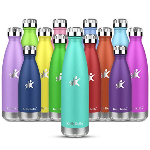 KollyKolla Botella de Agua Acero Inoxidable, Termo Sin BPA Ecológica, Botellas Termica Reutilizable Frascos Térmicos para Niños & Adultos, Deporte, Oficina, Yoga, Ciclismo, (350ml Lago Verde)