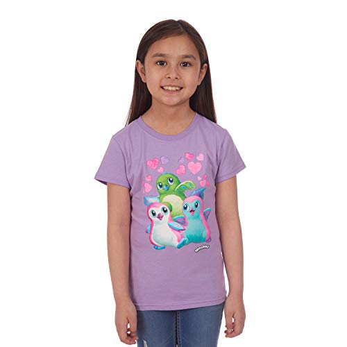 Hatchimals Little Graphic Girls Tee Shirt, Purple, 6/6X