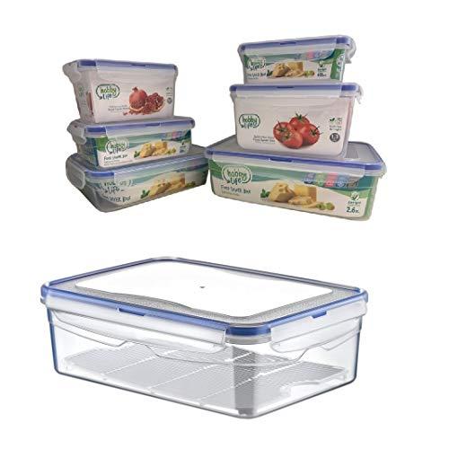 Megaprom 1,4 Liter Frischhaltedosen Aufbewahrungsdosen Vorratsdosen Gefrierdosen Brotdose Lunchbox mit 4-Fach Klickverschluss
