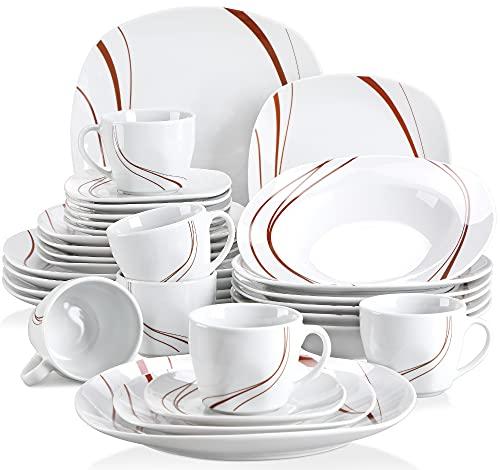 VEWEET Bonnie 30pcs Service de Table Porcelaine 6pcs Assiette Plate/Assiette à Dessert/Assiette Creuse/Tasse avec Soucoupes pour 6 Personnes Vaisselles Céramique