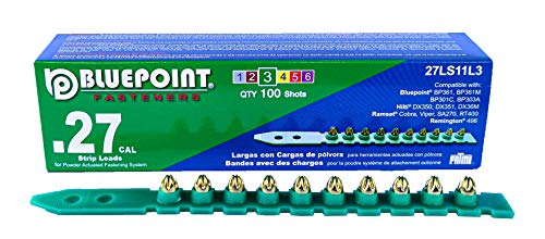 Bluepoint Fasteners Powder Actuated .27 Caliber Green Powder Load Strip Level 3. item no: 27LS11L3