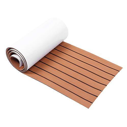Estink Suelo marino de espuma EVA, herrajes para barcos yates, suelo antideslizante, alfombra de espuma EVA para barcos y yates, 45 x 240 cm (marrón claro + negro)