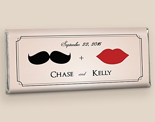 Personalized Candy Wedding Favors Mustache & Lips (25 Wrappers)