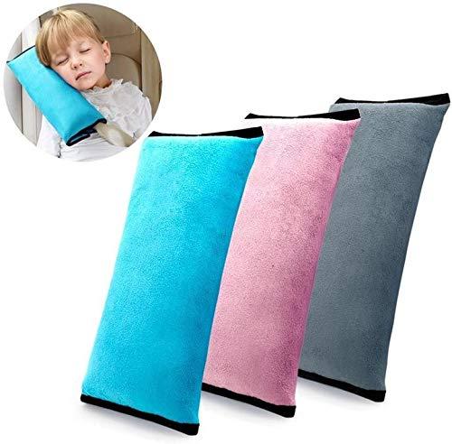 XinYiC - Almohada para cinturón de coche paquete de 3 pces 3 colores almohada para cinturón de seguridad suave para cinturón de seguridad almohada para niños niños reposacabezas