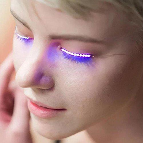 Yeyo LED Eyelashes Waterproof LED Light Eyelash Shining Eyeliner Charming Unique Eyelid Tape for Party Bar Nightclub Concerts Gift Halloween Day (Blue)