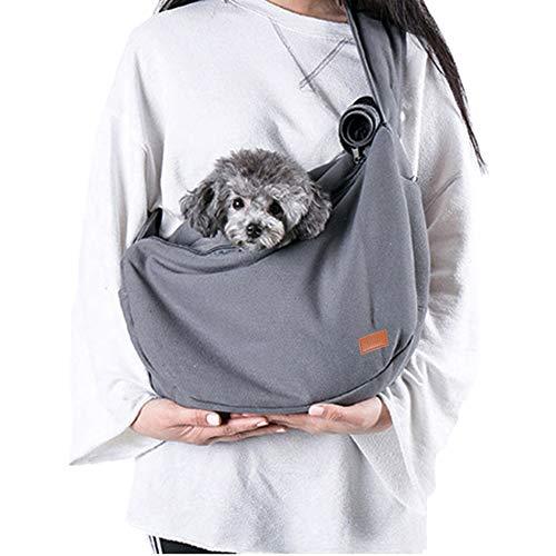 Louvra Hundetasche Single-Schulter Rucksack für Hunde und Katze Tragetuch mit Verstellbare Gepolsterte Schultergurt Umhängetasche Nylon Grau/Blau