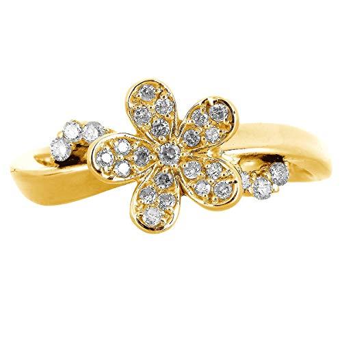 [ココカル]cococaru ダイヤモンド リング K18 イエローゴールド 指輪 16号 花 フラワー 天然 ダイヤ 日本製