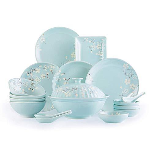 YGB Vajilla, Plato/Cuenco/Olla de cerámica Creativity18 Piezas de vajilla con diseño de Flor de Cerezo Azul - Juego de combinación de Porcelana Impresa a Mano para Restaurante, Fiesta Familiar