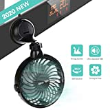 Battery Operated Kitchen Fan with Suction Cup, 2200mAh Capacity Rechargeable Wall Fan, Personal USB...
