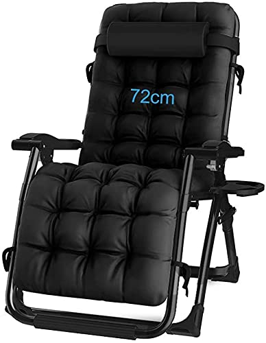 Extra Wide Sun Lounger Recliner Chair Relaxer with Cup Holder, Folding Outdoor Garden Chairs with Padded Cushion and Foot-rest, Armchairs for Living Rooms
