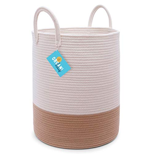 OrganiHaus XXL Cotton Rope Basket  Wide 20 x 133 Blanket Storage Basket with Long Handles  Decorative Clothes Hamper Basket  Extra Large Baskets Large 15x18 Off-WhiteHoney