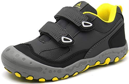 Kinder Wanderschuhe Jungen Trekkingschuhe für Mädchen Mit Klettverschluss Sneaker Atmungsaktive Schuhe rutschfest Laufschuhe Sport Outdoorschuhe gr.25 Grau
