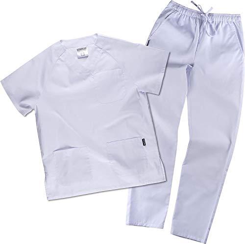 Work Team Uniforme Sanitario, con elástico y cordón en la Cintura, Casaca y Pantalon Unisex Blanco M
