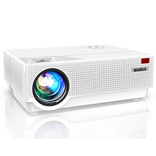 Projector, WiMiUS Newest P28 Native 1920x1080 Video Projector 10000:1 Contrast Support 4K Zoom Dual 10W Speakers, 400'' Screen 4D ±50°Keystone Correction for Home Theater and Outdoor Movie