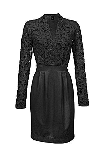 Heine - Best Connections Damen-Kleid Kleid mit Spitze Schwarz Größe 38