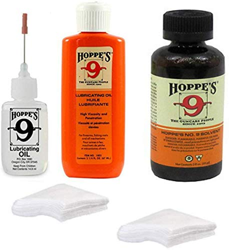 Hoppes 9 Elite Gun Cleaning kit - Gun Bore Cleaner and Lubricant Oil with 14.9 ML Precision Lubricator and 25-40 Patches for .38, 9mm .40 .44 and .45 Caliber